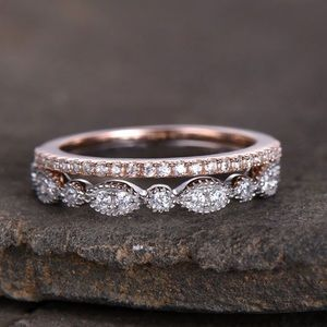Jewelry - 2pcs 925 Silver rose gold wedding bands Pave Rings
